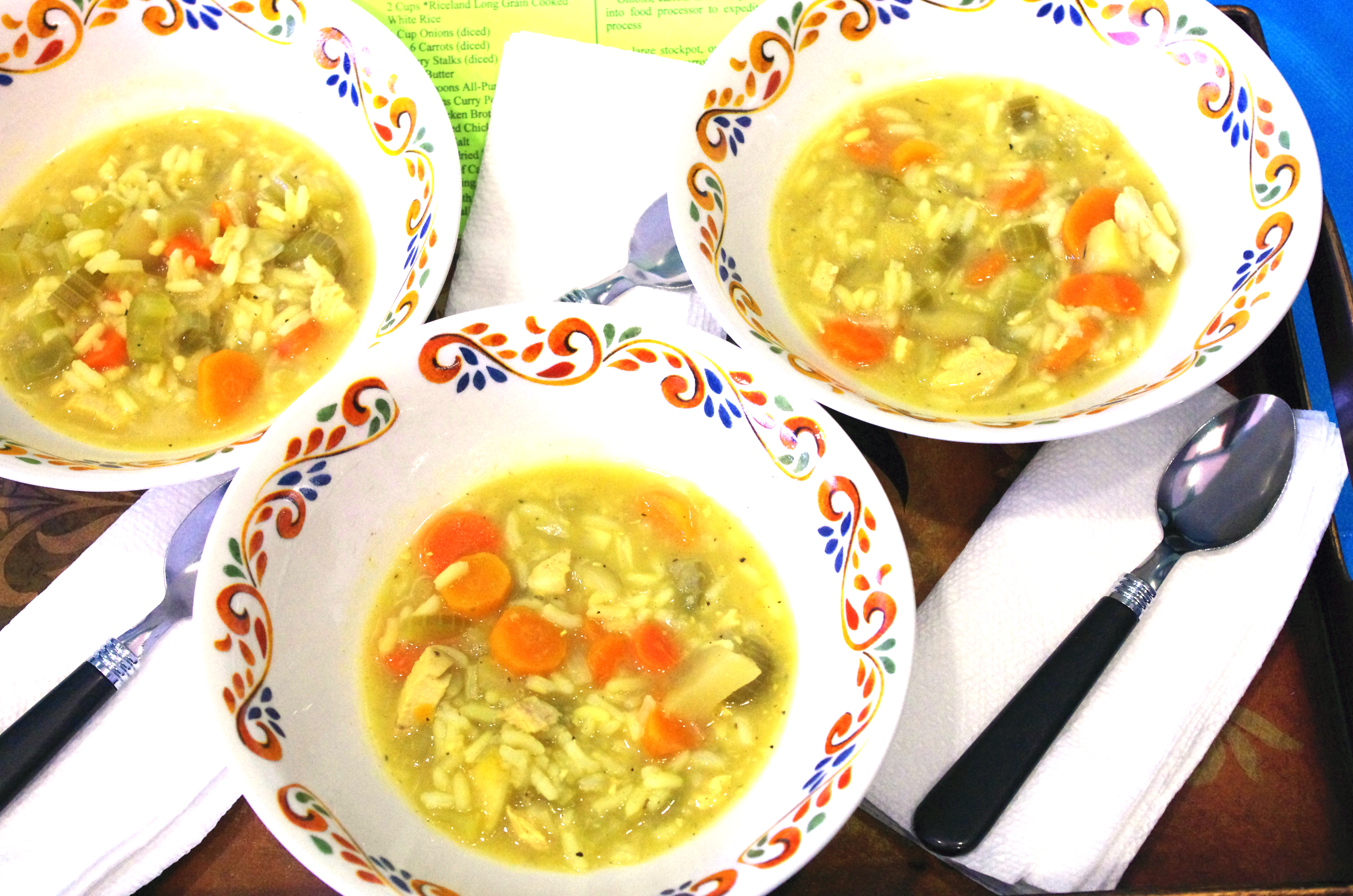 This image shows three bowls of Bailey's Farmers Market Soup. Bailey was a contestant in the Miss Arkansas Rice Contest.