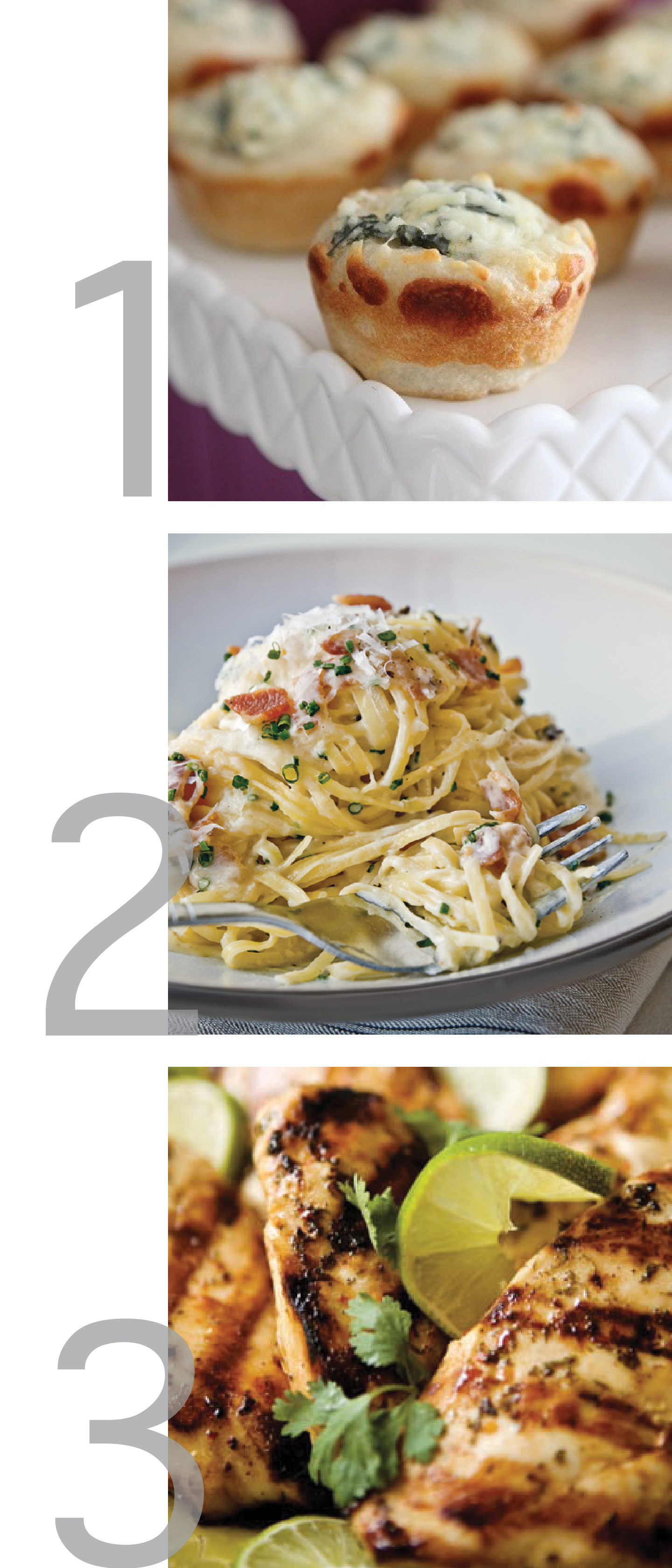 this photo shows the writer's favorite pins from pinterest this week. She calls them pinsperation. The first image shows cute little mini bread bowls filled with spinach dip. The second image shows a bountiful plate of carbonara. The last picture shows the close up of a sizzling plate of cilantro lime chicken.