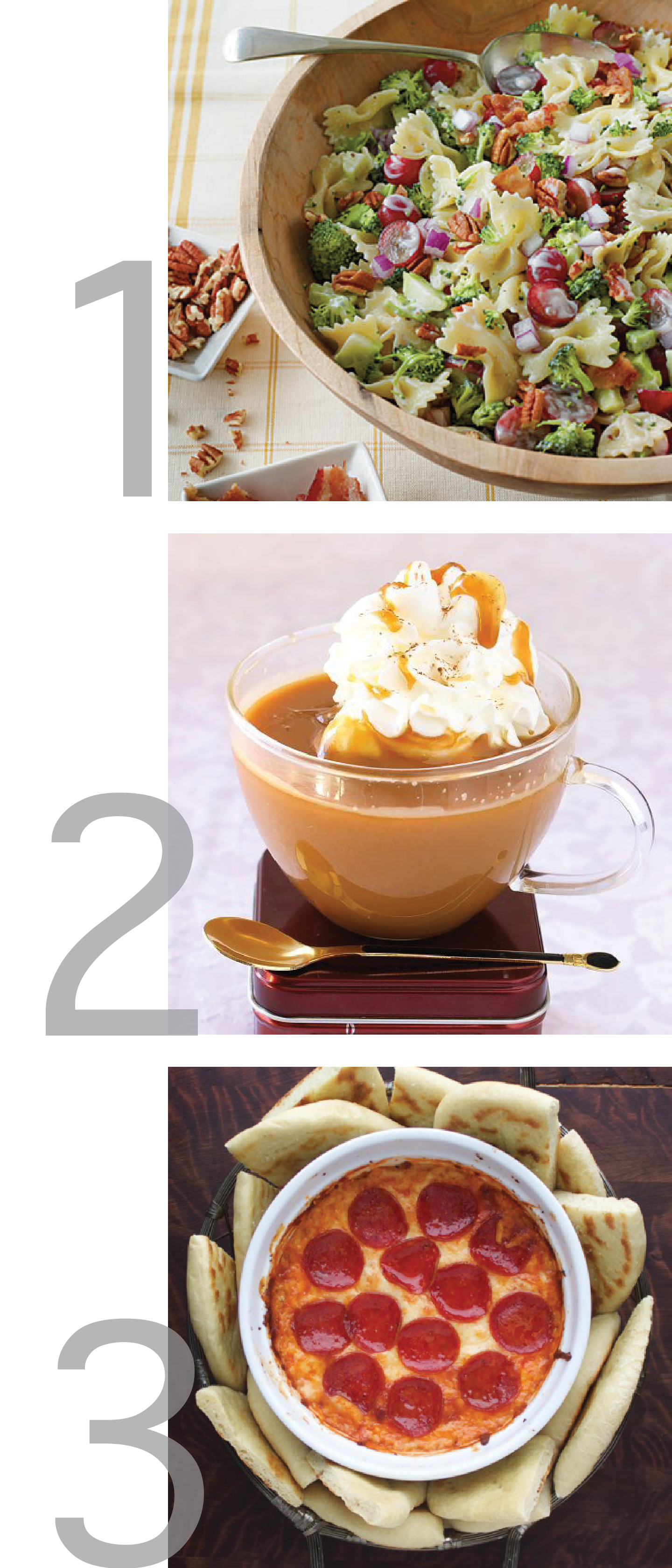 This photo is a simple graphic that shows photos of broccoli salad, salted caramel hot chocolate and pizza dip.