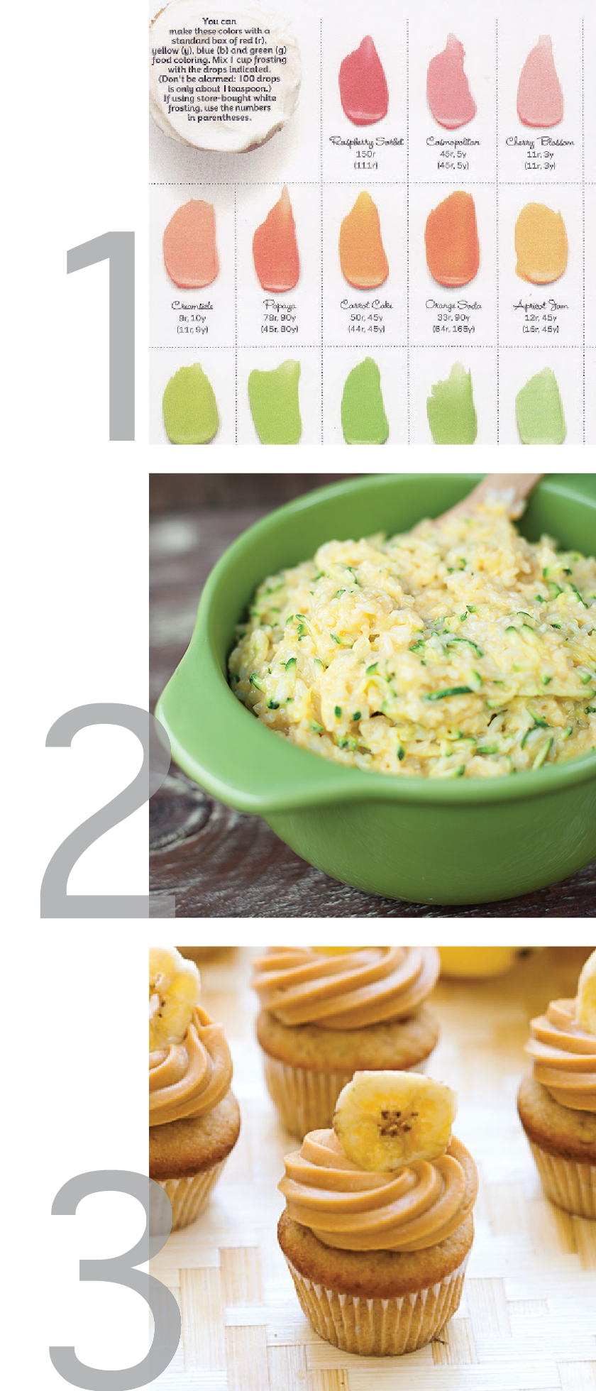 This Weekly Pinsperation image is a clean simple graphic showing the images of three pinterest pins, including a frosting color guide, cheesy zucchini rice and triple banana double caramel mini cupcakes.