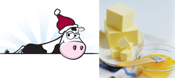 a cute dairy cow graphic and a nicely styled photo of butter