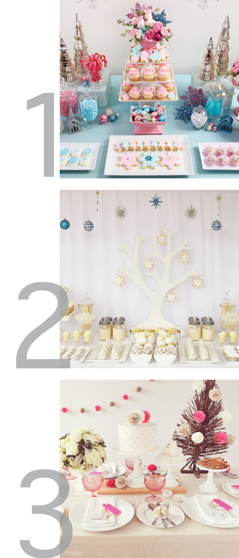 three photos in one graphic showing different table setting ideas for Christmas or other holidays