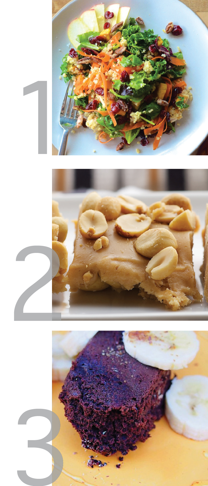 a graphic with photos of a delicious quinoa salad, banana brownies and salted nut squares
