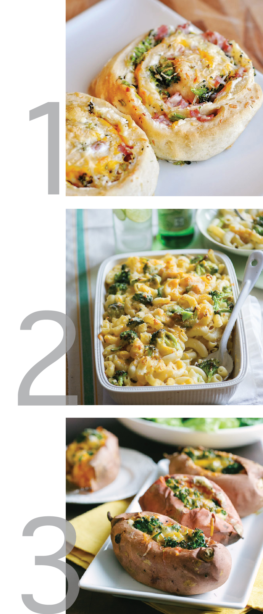 this photo is a graphic with three images for different recipes from pinterest, including ham and broccoli cheese spirals, broccoli mac and cheese, and broccoli and cheese stuffed sweet potatoes
